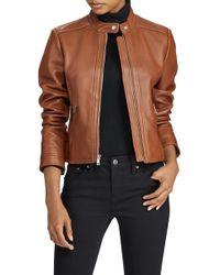 Ralph Lauren - Front Zip Lambskin Leather Jacket - Lyst