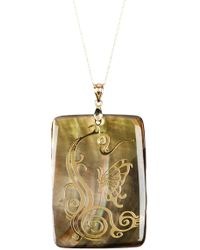 Liberty - 10k Gold Chain & Bail Dark Mother Of Pearl Rectangular Pendant Necklace - Lyst