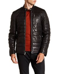 Lamarque - Quilted Center Front Leather Moto Jacket - Lyst