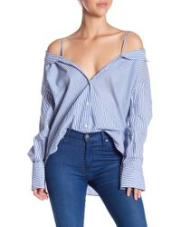 Soprano - Cold Shoulder Stripe Button Down - Lyst