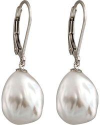 Splendid - 8-8.5mm Pearl Diamond-cut Hoop Earrings - Lyst