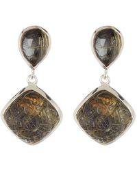 Stephen Dweck - Sterling Silver Gold Ritulated Quartz Hematite Small Drop Earrings - Lyst