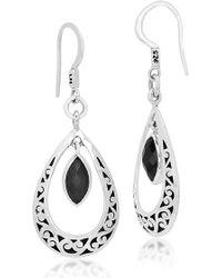 Lois Hill - Sterling Silver Bezel Set Onyx Filigree Teardrop Earrings - Lyst