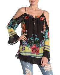 ef236ebc361051 Lyst - LOFT Petite Embroidered Cold Shoulder Tee