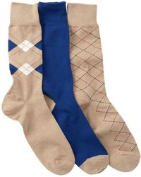 Cole Haan - Argyle & Lines Crew Socks - Pack Of 3 - Lyst