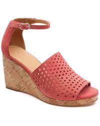 Bill Blass Zelda Perforated Wedge Sandals - Pink