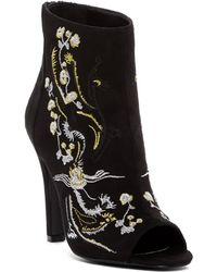 Carlos By Carlos Santana - Rachelle Embroidered Peep Toe Bootie - Lyst