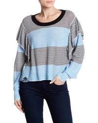 Wildfox - Aura Striped Ruffle Trim Knit Sweater - Lyst