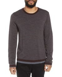 Vince - Striped Double Layer Merino Wool Sweater - Lyst
