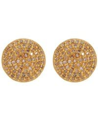 Adornia - Gold Vermeil White Diamond Pave Round Stud Earrings - 1.00 Ctw - Lyst
