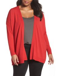 Sejour - Mixed Media Open Cardigan (plus Size) - Lyst