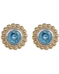 Lagos - Sterling Silver & 18k Gold Blue Topaz Stud Earrings - Lyst