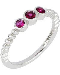 Bony Levy - 18k White Gold Ruby Stack Ring - Lyst