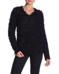 MILLY - Fuzzy Knit V-neck Sweater - Lyst