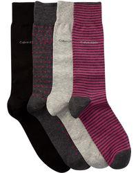 Calvin Klein - Assorted Crew Socks - Pack Of 4 - Lyst