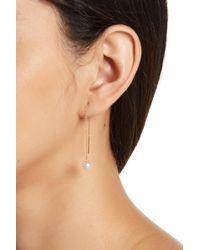 Splendid - 14k Yellow Gold Natural White 7-7.5mm Akoya Pearl Chain Drop Threader Earrings - Lyst