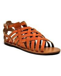 Mata Shoes - Ultra Strappy Faux Leather Open Toe Sandal - Lyst