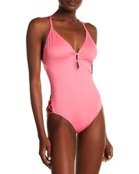 Laundry by Shelli Segal - Plunge Halter One-piece Swimsuit - Lyst