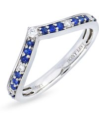 Bony Levy - 18k White Gold Channel Set Diamond & Sapphire Chevron Ring - 0.09 Ctw - Lyst