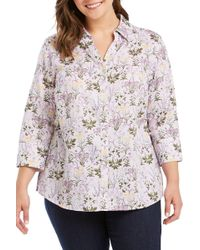 Foxcroft - Mary Floral Print Shirt (plus Size) - Lyst