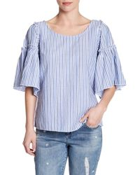 Seven7 - Striped Peplum Sleeve Blouse - Lyst