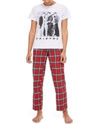 TOPSHOP - Friends Long Chequered Pyjamas - Lyst