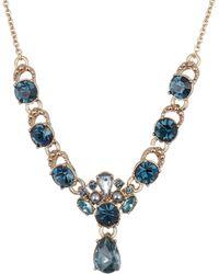 Marchesa - Blue Crystal Drop Necklace - Lyst