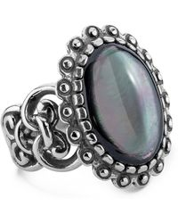 Relios - Sterling Silver Scallop Border Grey Mother Of Pearl Ring - Lyst