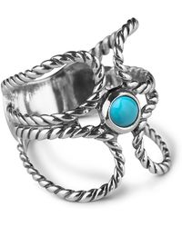 Relios - Sterling Silver Rope Turquoise Accented Ring - Lyst