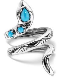 Relios - Sterling Silver Turquoise Accented Snake Ring - Lyst