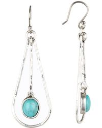 Lucky Brand - Turquoise Dangling Oblong Frontal Hoop Earrings - Lyst