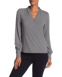 Adrianna Papell - Faux Wrap Striped Blouse - Lyst