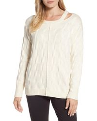 Vince Camuto - Keyhole Neck Cable Sweater - Lyst