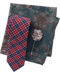 Original Penguin - Waldorf Plaid Tie, Pocket Square, & Lapel Pin Set - Lyst