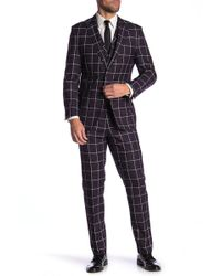 English Laundry - Purple Windowpane Two Button Peak Lapel Vested Suit - Lyst