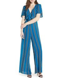 Band Of Gypsies - Knot Front Stripe Jumpsuit - Lyst