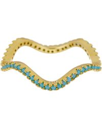Argento Vivo - 18k Gold Plated Sterling Silver Wavy Ring - Size 6 - Lyst