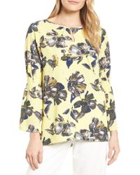 Chaus - Glossy Floral Keyhole Top - Lyst