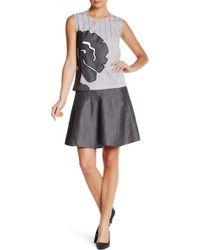 47ed55102a Vivienne Tam - Flare Linen Wool Blend Skirt - Lyst