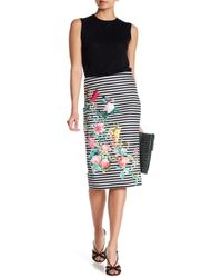 Eci - Floral Striped Pencil Skirt - Lyst