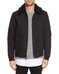 Twenty - Robinson Bomber Jacket With Faux Shearling Collar - Lyst