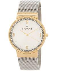 Skagen - Crystal Bezel Mesh Strap Watch, 34mm - Lyst