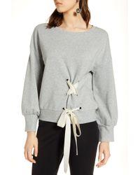 Halogen - (r) Lace-up Sweatshirt (regular & Petite) - Lyst