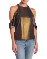 Romeo and Juliet Couture - Metallic Cold Shoulder Top - Lyst