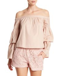 BCBGMAXAZRIA - Layered Off-the-shoulder Long Sleeve Top - Lyst