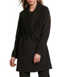 Lauren by Ralph Lauren - Fringe Trim Wrap Coat - Lyst