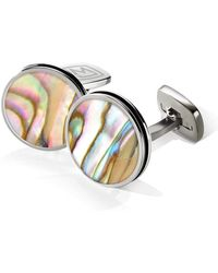 M-clip - Polished Round Abalone Cufflinks - Lyst