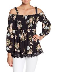 Eci - Off-the-shoulder Floral Print Top - Lyst