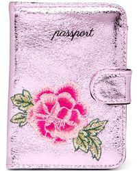 MIAMICA - Pink Metallic Sew Floral Passport Case - Lyst