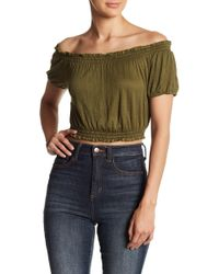 Hiatus - Off-the-shoulder Solid Gauze Crop Top - Lyst